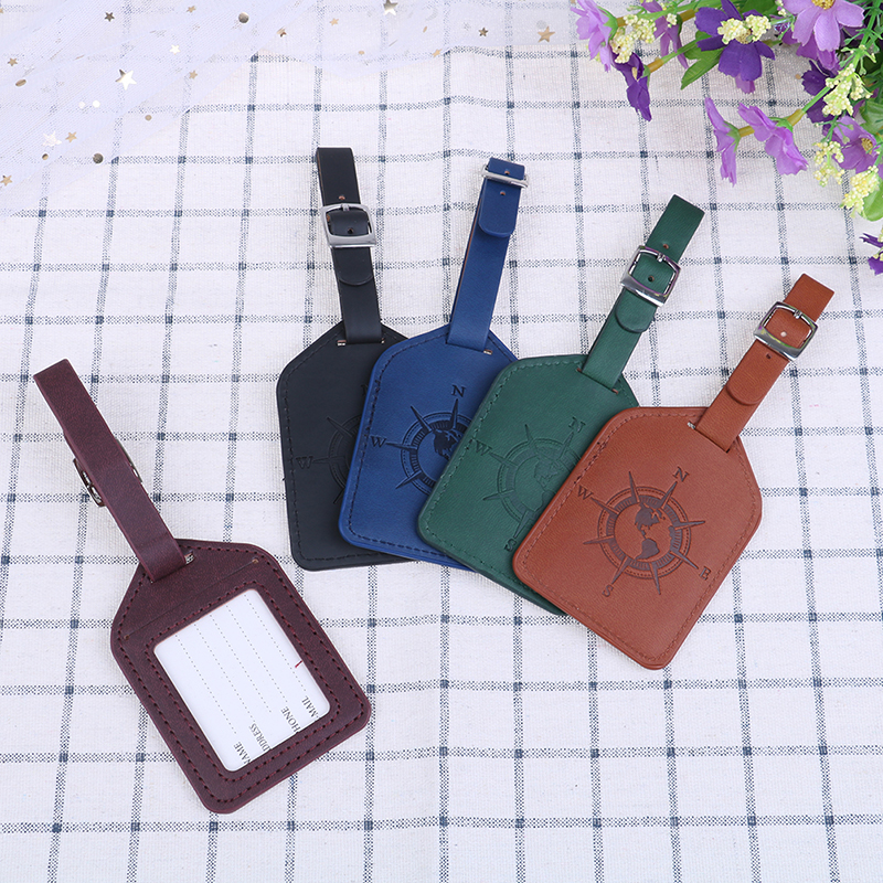 1PCS Suitcase Luggage Tag Fashion Compass PU Leather Bag Pendant Handbag Travel Accessories
