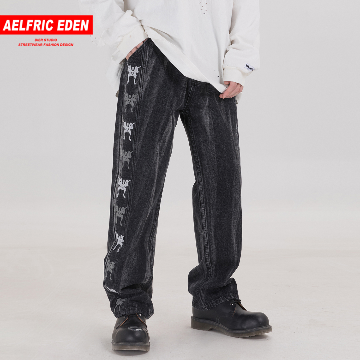 Aelfric Eden Vintage Butterfly Embroidery Jeans Harajuku Hip Hop Straight Pants Casual Fashion Streetwear Joggers Men Trousers