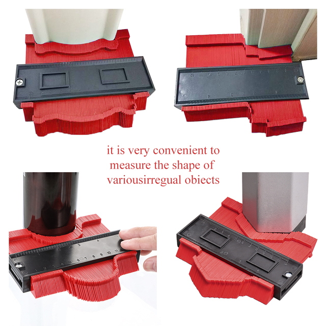 New Multi-functional Contour Profiler Paved Tile Laminate Edge Shaping Wooden Ruler Ruler ABS Profiler Replicator 5/10 Inches