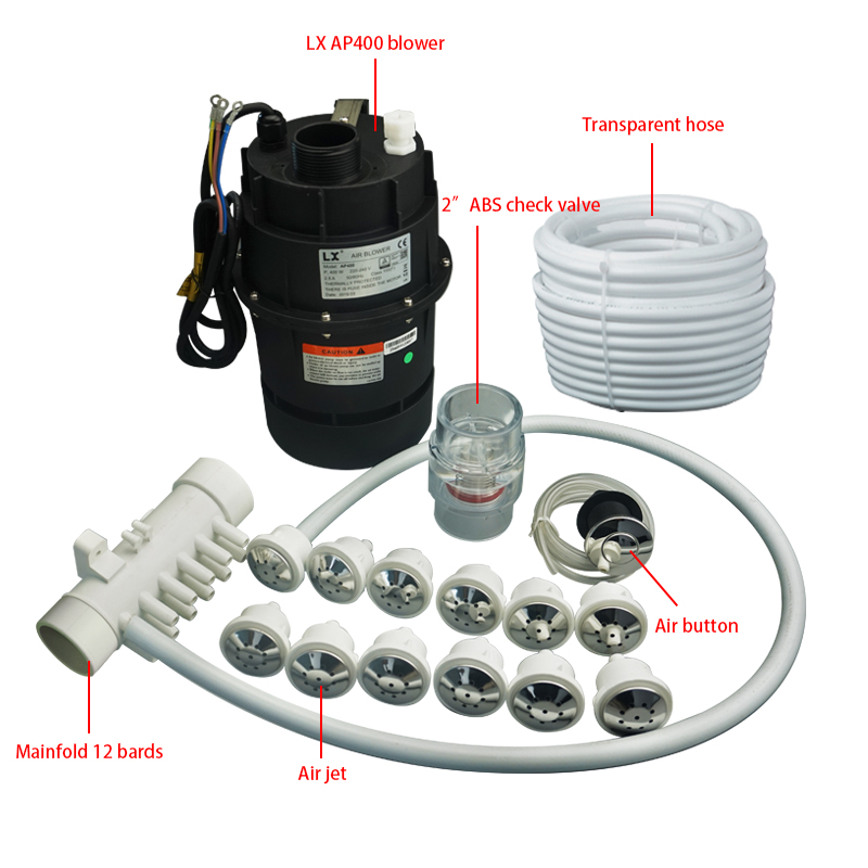 Air blower spa bathtub bubble system, air blower and jet manifold ,hose for spa hot tub and whirlpool