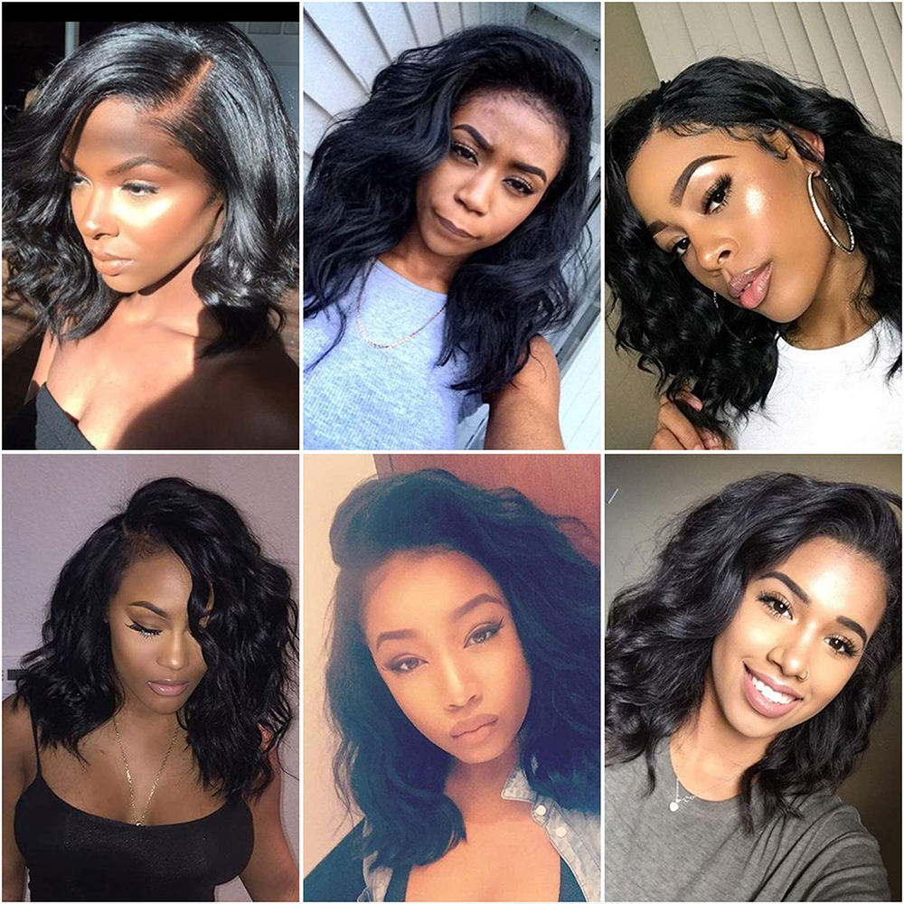 "Amanda Bob Wig Lace Front  Wigs Pre Plucked Natural Wave Middle Part 150% Density 8-16""   Lace Front Wigs 5"