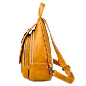 Image 3 - 2020 נשים עור מעצב יוקרה באיכות גבוהה תרמילי Bagpack גבירותיי Sac Dos נשי חבילה חינם לנערות מוצק נסיעות