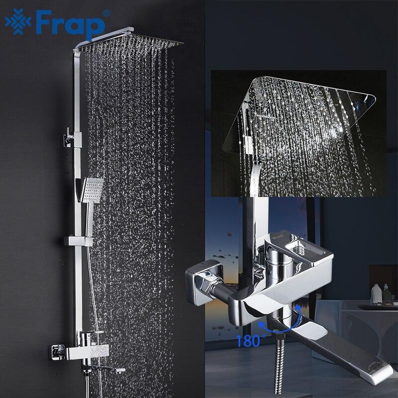 Frap Tap Shower-Faucet-Set Mixer Hand-Sprayer Wall-Mounted Bath Rainfall Single-Handle