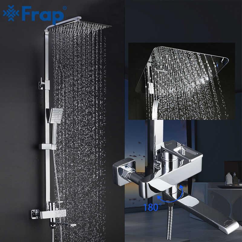 Frap 1 ชุดห้องน้ำฝักบัวอาบน้ำก๊อกน้ำเดี่ยวแตะมือ Sprayer ติดผนังอาบน้ำชุด f2420