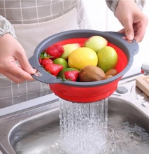 Retractable Silicone Drain Basket  Washing Fruit Collapsible Colander Kitchen Folding Filter