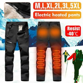 Men USB Electric Heating pant Winter Thick USB Intelligent Heated Warm Trousers Velvet Warm Knee Trousers Pant for Outdoor Sport