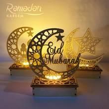 QFU – décoration en bois Eid Mubarak Ramadan, pour maison, lune, mosquée islamique, fournitures suspendues musulmanes
