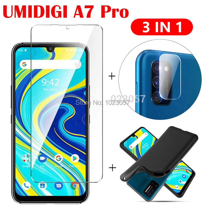3in1 Soft Case Camera Lens Protector Tempered Glass On UMIDIGI A7 A7 Pro ScreenProtector Glass For UMIDIGI A7 Pro 2.5D Glass