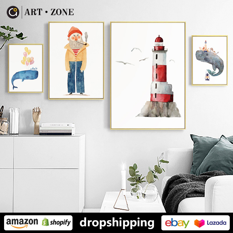 Cartoon Cute Whale Elderly Posters Prints Canvas Paintings Wall Art For Living Room Decor For Bedroom Aesthetic Artwork Unframed Painting Calligraphy Aliexpress