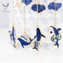 Criativo azul baleia marcador de metal kawaii papelaria retro bonito animais livro clipe acessórios de escritório material escolar presentes