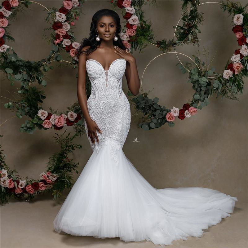 African Mermaid Wedding Dress 2020 Sweetheart Strapless Lace Beaded Wedding Gowns Black Bride Dress Applique Sereia Dress