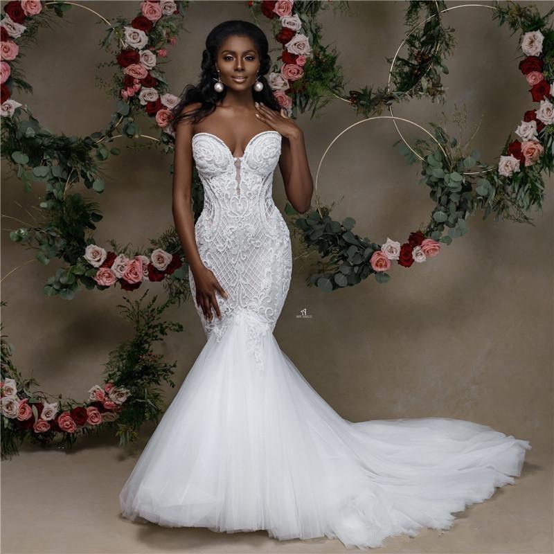 African Mermaid Wedding Dress 2020 Sweetheart Strapless Lace Beaded Wedding Gowns Black Bride Dress Applique Sereia Dress