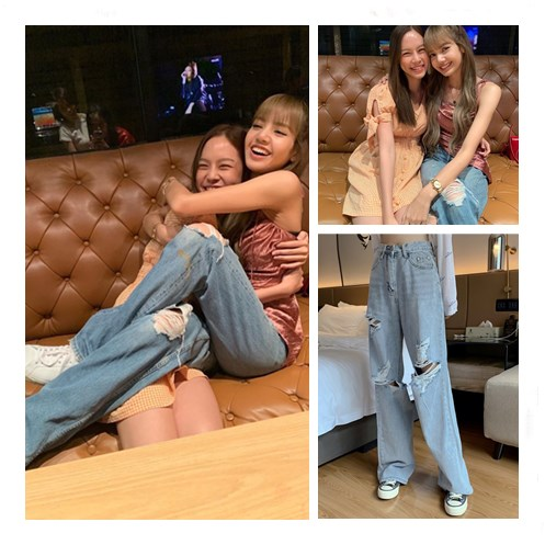 Kpop Blackpink Lisa Same Hip Hop Broken Hole Light Blue High Waist Jeans Women Summer Streetwear Loose Wild Wide Leg Denim Pants