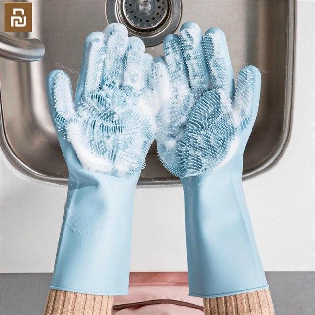Youpin JJ Magic ทำความสะอาดซิลิโคนถุงมือฉนวนกันความร้อนลื่นล้างจานถุงมือคู่ สวมถุงมือสำหรับ Home Kitchen