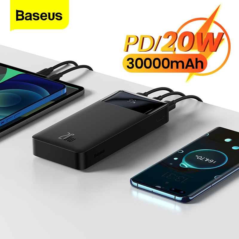 Baseus 30000mAh Power Bank Portable Charger 30000 External Battery PD Fast Charging Pack Powerbank For Phone Xiaomi mi PoverBank