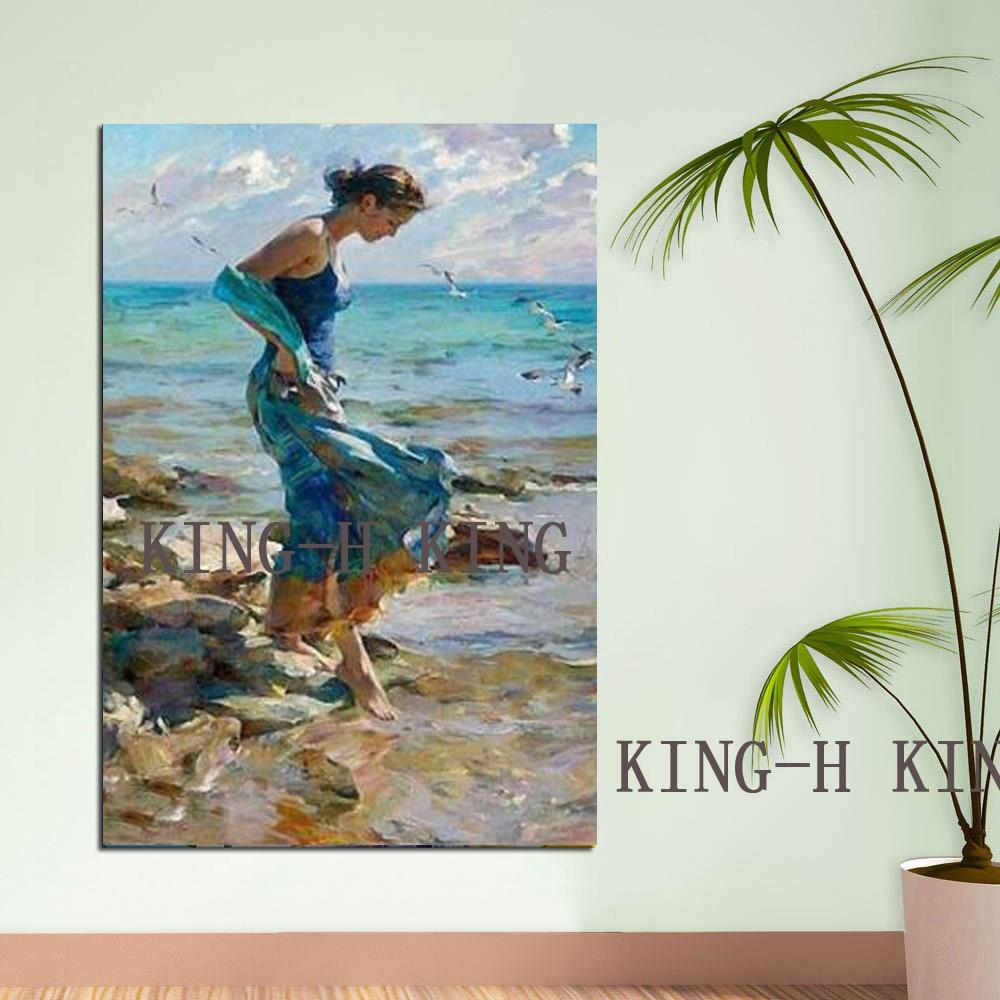 Paisaje de playa hecho a mano de pintor de habilidades hermosa chica vestido mural arte figura pintura la imagen de la sala de estar Adorno - 2
