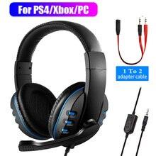 3.5 مللي متر سماعات أذن بأسلاك سماعة الألعاب لعبة الألعاب سماعات مع ميكروفون التحكم في مستوى الصوت ل PS4 بلاي ستيشن 4 X صندوق قطعة واحدة
