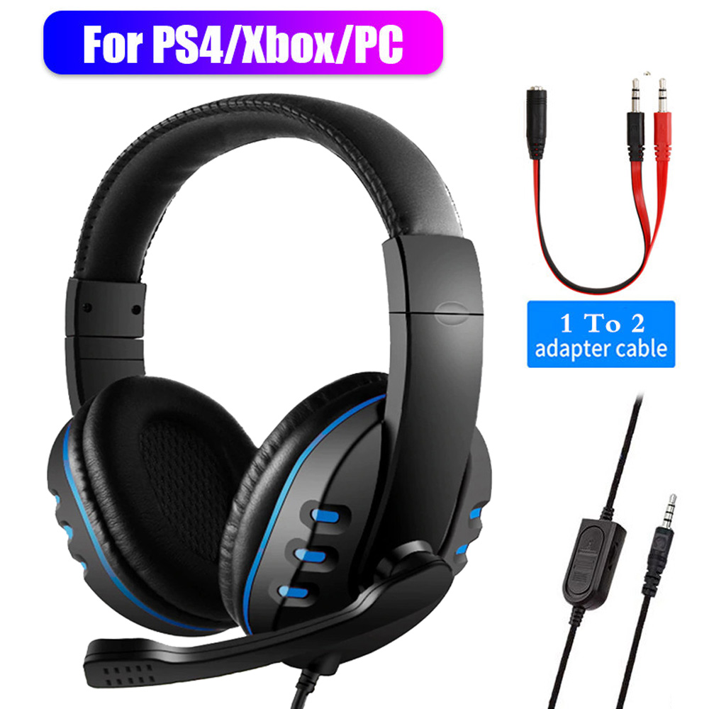 3 5mm Wired Headphones Gaming Headset Gamer Game Earphones with Microphone Volume Control for PS4 Play Station 4 X Box One PC