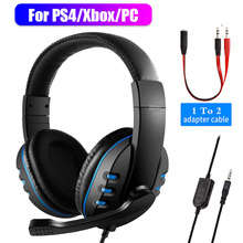 3.5mm Wired Headphones Gaming Headset Gamer Game Earphones with Microphone Volume Control for PS4 Play Station 4 X Box One PC