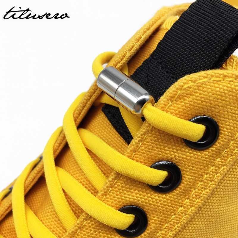 النسخة الثالثة مرونة لا التعادل أربطة الحذاء قفل معدني أربطة أحذية للأطفال الكبار رياضية سريعة أربطة الحذاء القوس Shoestrings F089
