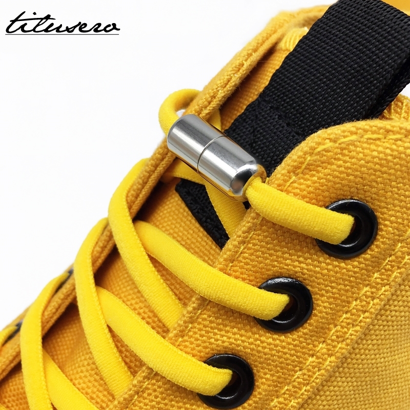Third Version Elastic No Tie Shoelaces Metal Lock Shoe Laces For Kids Adult Sneakers Quick Shoelaces Semicircle Shoestrings F089