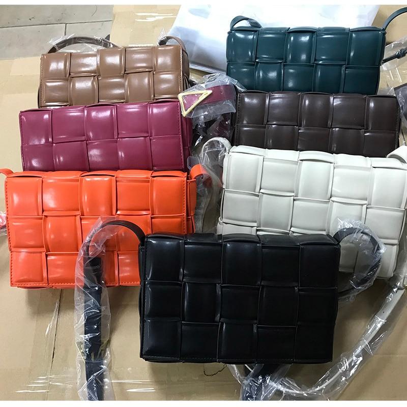 26cm Luxury Handbags Women Bags Designer High Quality PU Leather Shoulder Messenger Bags Woven Plaid Female Purses And Handbags