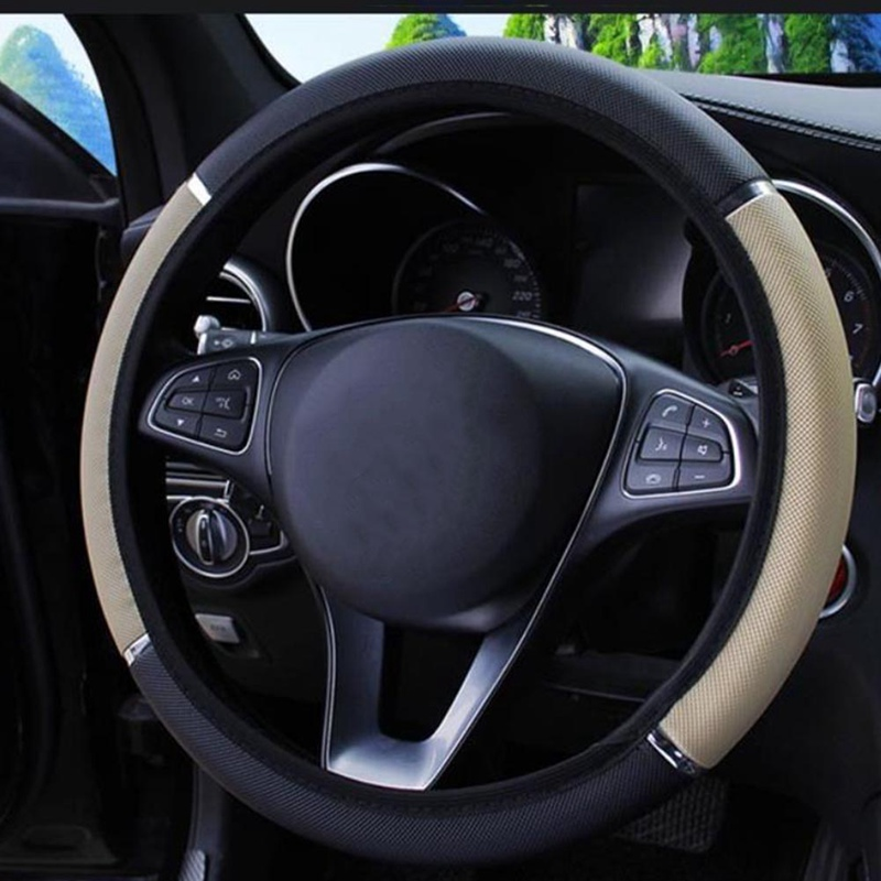 Чехлы рулевого колеса автомобиля 37-38 см универсальные чехлы из искусственной кожи на руль автомобиля противоскользящие всесезонные