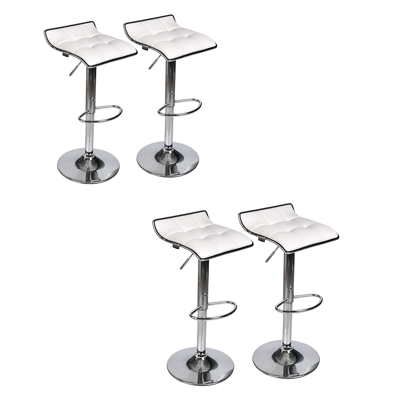 Set Of 4 White Bar Stool Chair  Pu Leather Hydraulic Swivel Pub Kitchen Dining Chair