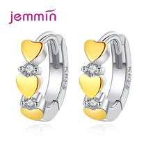 цена на Korean Heart Cubic Zirconia Circle Hoop Earring For Women Fashion 925 Sterling Silver Piercing Ear Rings Wedding Party Jewelry