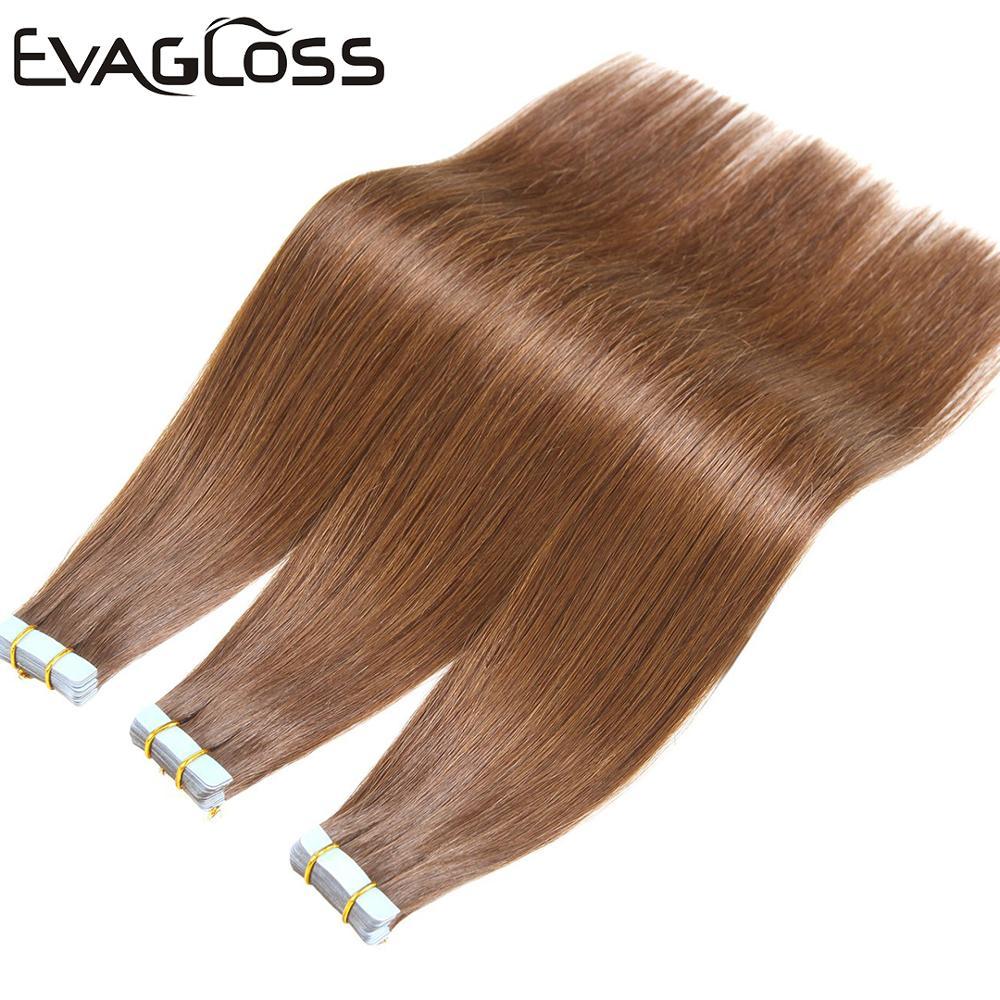 EVAGLOSS Tape In Human Hair Extension Skin Weft Machine Remy Tape Extensions Hair 20pcs 40pcs 80pcs Adhesive Tape Hair Extension