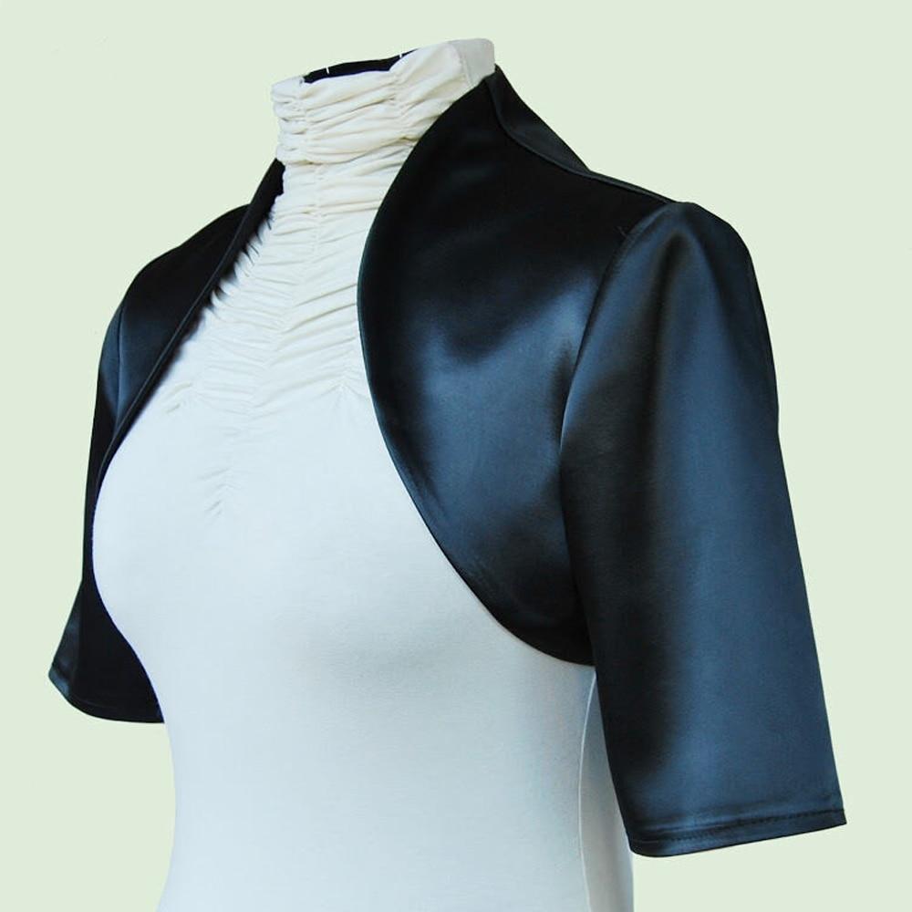 3/4 Long Sleeve Wedding Jacket Satin Bolero Jackets For Bridal Party Coat Free Shipping Bridal Jacket Custom Made