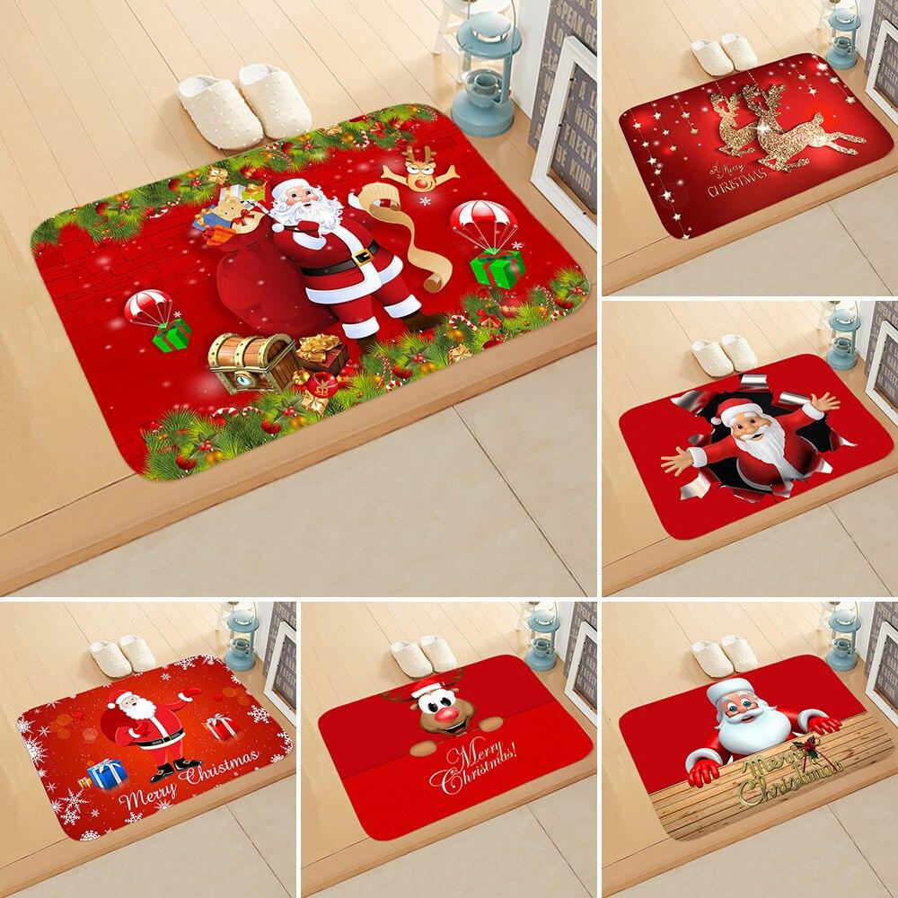 Rot Weihnachten Matte Santa Claus Elch Boden Matte Weihnachten Nicht-slip Fußmatte Küche Badezimmer Dekor 2021 Frohe Weihnachten Decor für Home