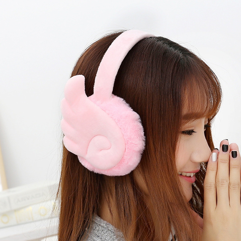 Women Girl Fluffy Earmuffs  Solid Color Winter Warm Soft Wing Plush Earmuffs Ear Warmers Fur Ear Muffs Cute Earlap