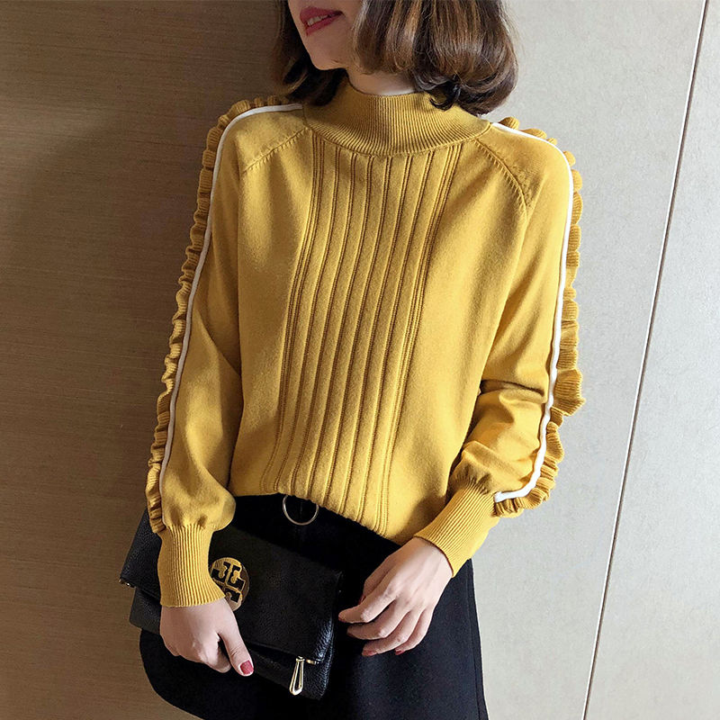 2020 Spring And Autumn New Knitted Sweater Women's Half Turtleneck Bottoming Shirt Pullover Loose Korean Long Sleeve Fungus