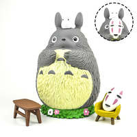 Japan genuine cartoon anime super cute kawaii 21cm big Totoro no face men mask action figures piggy bank desktop Kids Toy gift