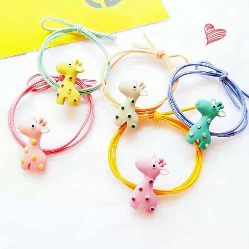5Pieces/pack New Korean Elastic Hair Bands Lovely Giraffe Headbands Sweet Cute Girls Hair Accessories Bow Knot Headwear
