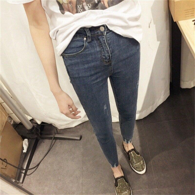 Autumn Clothing 2018 New Style Korean-style Women's High Waist Jeans Women's, Blue Slimming Pants Capri Elasticity Skinny Pants
