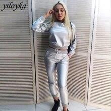 Women Faux Leather Sweatshirt Pants Lining Plus Velvet Two Piece Set Winter Casu