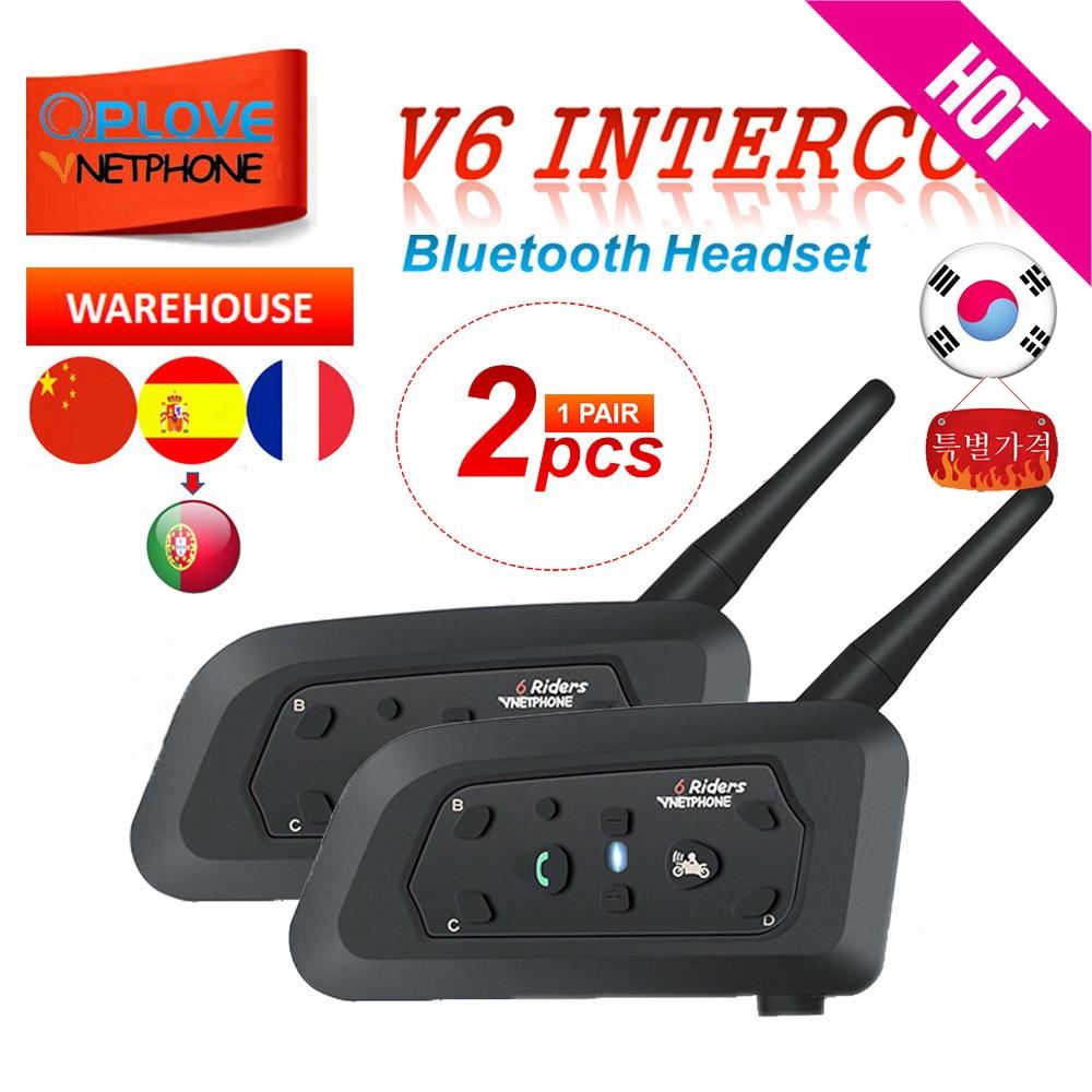 QPLOVE 2 pièces VnetPhone V6 Bluetooth casque interphone 1200M sans fil parlant prend en charge FM et musique casque de moto casque