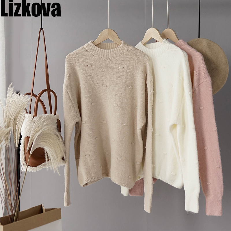 Woman 2019 Autumn Cashmere Solid Color Pullover Sweater Long Sleeve O-neck Sweet Sweater Dot Decoration