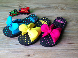 Sweet Summer Bow Bowtie Butterfly Dot EVA Beach Home Women Flat Slipper Female Sandals Blue Red Yellow Green Size