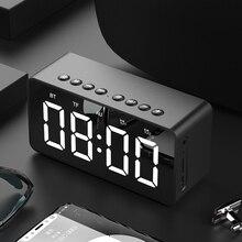 المحمولة سماعة لاسلكية تعمل بالبلوتوث 5.0 المتكلم ستيريو باس LED عرض ساعة مزدوجة مع منبه مرآة TF بطاقة 4D مكبر صوت مع ميكروفون