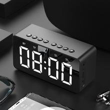 Portable Wireless bluetooth 5.0 Speaker Stereo Bass LED Display Dual Alarm Clock mirror TF Card 4D Speaker with Mic