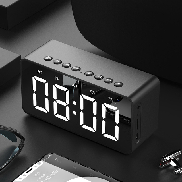 נייד אלחוטי bluetooth 5.0 רמקול סטריאו בס LED תצוגה כפולה שעון מעורר מראה TF כרטיס 4D רמקול עם מיקרופון