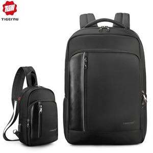 Image 1 - Tigernu Bag Set Water Resistant Backpack Men with USB Charging Headphone Crossbody Bags for Women 2019 Shoulder Bag for Teens