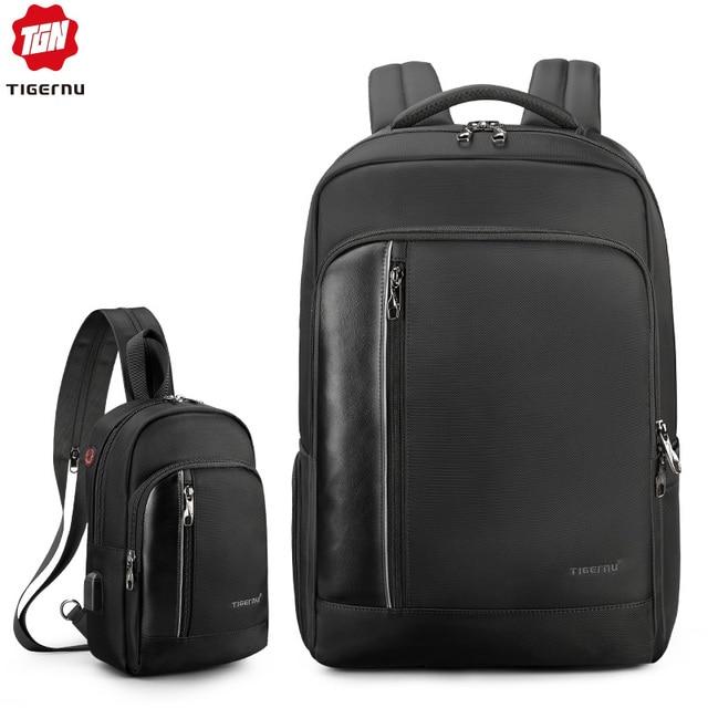 Tigernu Bag Set Water Resistant Backpack Men with USB Charging Headphone Crossbody Bags for Women 2019 Shoulder Bag for Teens