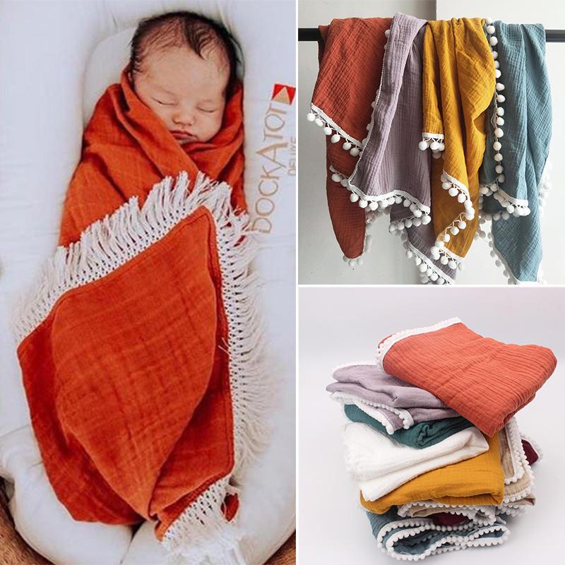 Muslin Blanket Swaddle Bath-Towel Photo-Props Tassel Wrap-Feeding Big-Diaper Double-Gauze