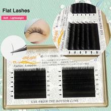 Flat Lash Extension Light Weight Professionals Eyelash Ellipse Flat Split Tip profession Soft Silk Flat Lashes J/B/C/D Curl