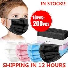 10-200 шт. одноразовые маски для лица 3 Слои детская маски фильтр пыль маска для лица для детей ушной защитная маска