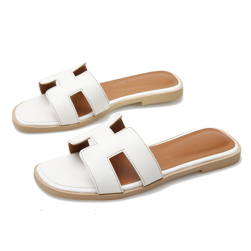Summer Slippers 2020 Women Shoes High Quality PU Leather Square Toe Ladies Slides Outside Womens Slippers Flats Sandals34-43